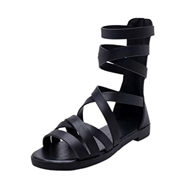 364575e9a14 BOOMJIU Womens Gladiator Strappy Flat Sandals Open Toe Criss Cross Strap  Ankle Wrap Summer Beach Sandals