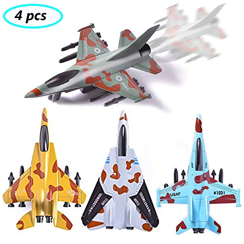 UiiQ Pull Back Airplane Toy Set Die Cast Metal Military Themed Fighter Jets, Good for Kids Toy Set Collection - 4 Pcs (Blue)]()