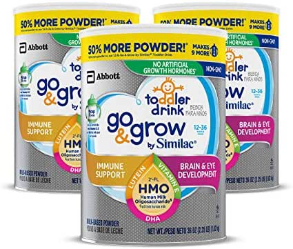 Go & Grow by Similac Non-GMO Toddler Milk-Based Drink with 2'-FL HMO for Immune Support, Powder, 36 oz, 3 Count