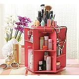 B&S FEEL New-arrival 360-degree rotation desktop wooden jewelry box DIY cosmetic storage box wooden storage organizer makeup organizer/Cosmetics Storage