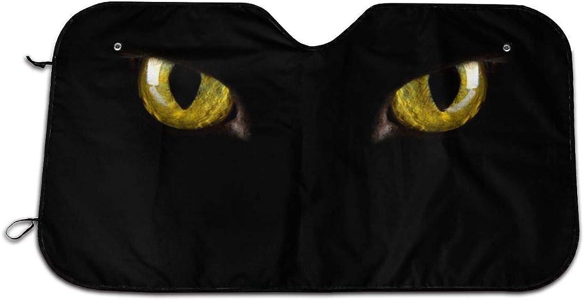 Cartoon Halloween Black Cat Eyes Scary Themed Wind Sun Shade Car Windows Interior Cover Visor Kit Ornament Decor Outdoor Vehicle Accessories Sunshade Auto for Women Men