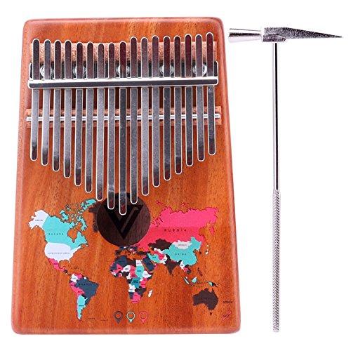 VI VICTORY 17 Key Mahogany Kalimba Colorful African Thumb Piano Finger Percussion Keyboard Music Instruments - Map ()