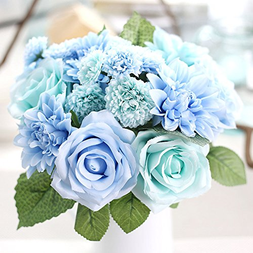 Daisy Rose Wedding Bouquet - Meiliy 1 Bunch 8 Pcs Artificial Rose Dahlia Daisy Flower Bouquet Bride Bridesmaid Holding Flowers for Home Hotel Office Wedding Party Garden Craft Art Decor, Tiffany Blue