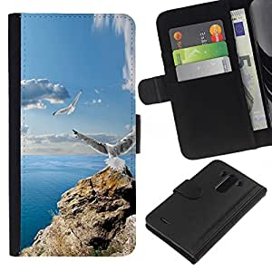 LECELL--Cuero de la tarjeta la carpeta del tirón Smartphone Slots Protección Holder For LG G3 -- ICONO DEL ROCK GAVIOTAS y MAR --