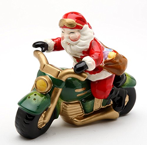 Cosmos Gifts 10584 Fine Ceramic Chopper Santa Claus Riding Motorcycle Delivering Presents Salt and Pepper Shakers Set, 4-1/8
