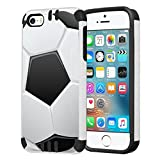 Capsule Case Compatible with iPhone 5, iPhone 5S, iPhone SE [Hybrid Dual Layer Slim Defender Armor Combat Case Black White] - (Soccer Ball)