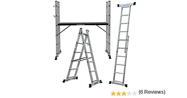Andamio aluminio multiplataforma con dos escaleras de carril marca Pro-Steps: Amazon.es: Hogar