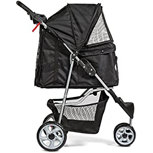 Black 3 -Wheeled Folding Pet Stroller Travel Carrier For Cats And Dogs Cart