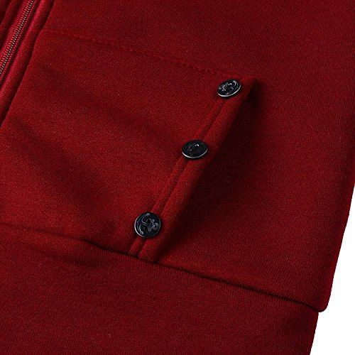 con Modernas Capucha Otoño con Invierno Fashion Sudaderas Espesar Capucha Chaqueta Cremallera Larga Casual Casual Slim Abrigos Mujer Termica Chaqueta Fit con Manga Rojo Hoodie Elegantes 4f88nHvW0