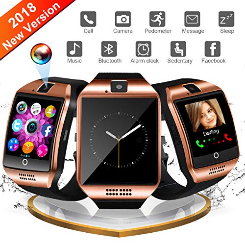 Smart Watch for Android, WATCHOO Touchscreen Bluetooth Smartwatch with Camera Unlocked Smart Watch with Sim Card Slot, Smartwatch Phone Compatible for iPhone iOS Samsung Men Women Kids, Golden
