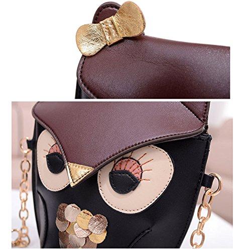 Chouette femmes sac motif filles PU Messenger Sac Mini Vococal cuir impression qI04wdqax