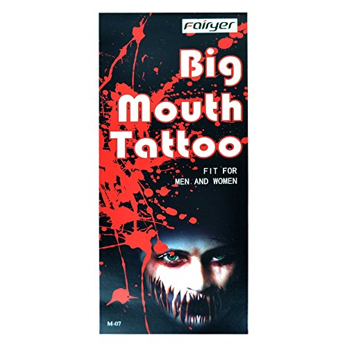 Big Mouth Temporary Tattoo Halloween Dress Up Costume Party Zombies M-07