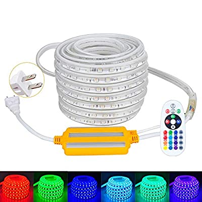 LED Rope Light,Color Changing,32.8ft Lenticular Flexible RGB Strip Light,Waterproof for Indoor & Outdoor Use,Connectable Decorative Lighting,8 Color and Multiple Modes