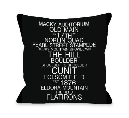 One Bella Casa Boulder Colorado Landmarks Throw Pillow by OBC, 16
