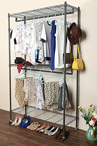 Kaluo 3 Tier Wire Shelving Clothes Rack Closet, Heavy Duty Rolling Garment Rack with Wheels