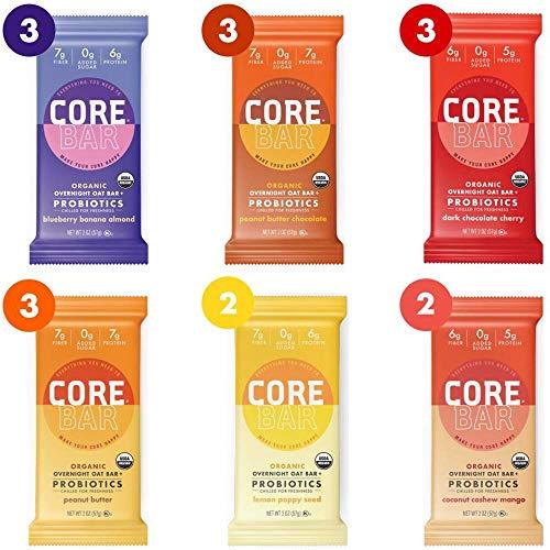 CORE Foods Organic Overnight Oat Bar + Probiotics, Gluten Free, non-GMO, Vegan, Kosher, Prebiotics, Best Sellers Variety Pack, 2 oz, 16 Bars