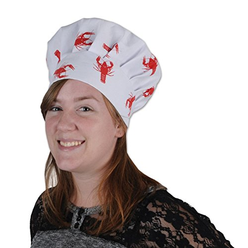 Pack of 12 White Crawfish Print Oversized Culinary Themed Chef's Toque Hats by Party Central