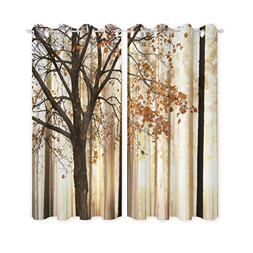 Riyidecor Fall Trees Windows Curtain Blackout Scene Curtains (2 Panels 52 x 96 Inch) Woodsy Forest Yellow Brown Home Decor Autumn Window Treatments Living Room Bedr OOM Window Drapes Fabric ()