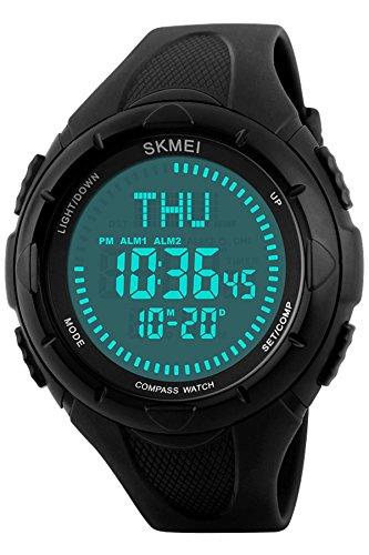 Mens Military Big Face Digital Sports Stopwatch Compass Waterproof Watches Black (Bright Mens Quartz Watch)