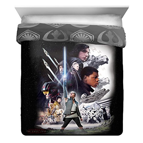 Full Set Size Poster Bed (Star Wars Ep 8 Epic Poster Full/Queen Comforter - Reversible Bedding features Rey, Finn, Poe, Kylo Ren, Luke Skywalker, Leia, BB-8, C3-PO, R2-D2 & Chewbacca (Offical Star Wars Product))