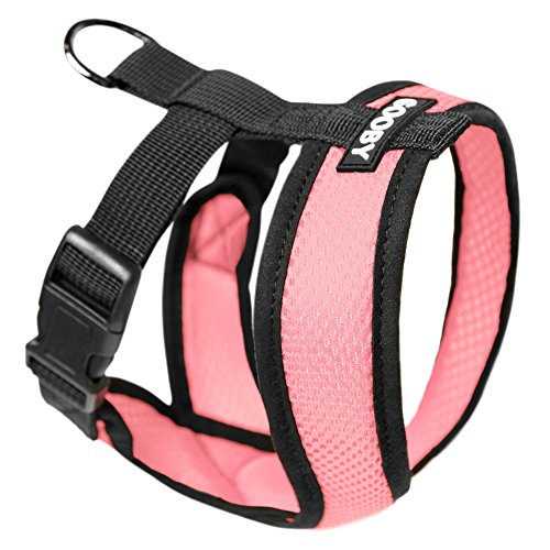 Gooby Choke Free X Frame Soft Harness with Micro Suede Trimming for Small Dogs, Medium, Pink