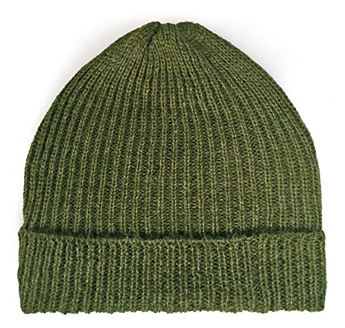 Ribbed Stocking Cap - 100% Alpaca Wool - Traditional Fisherman Style Work Fashion Unisex Durable All Weather Hat (Military Green)
