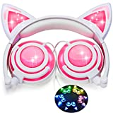 iGeeKid [Upgraded Version] Cat Ear Kids Headphones Rechargeable LED Light Up Foldable Over Ear Headphones Headsets for Girls Boys,Compatible for iPad,Kids Tablet,Kids Wearable Musical Device(New Pink)