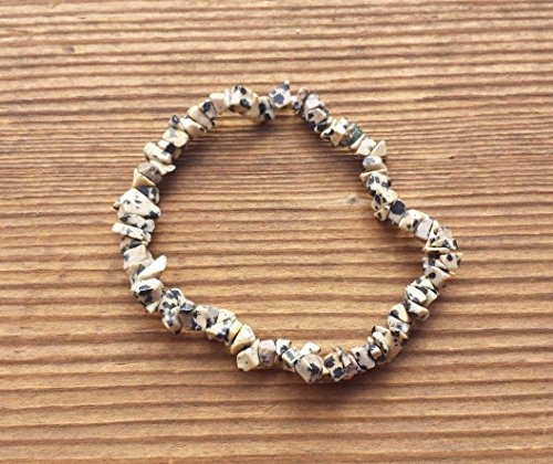 - [A&S Crystals] DALMATIAN JASPER Natural Stone Gemstone Stretchy Chip Bracelet