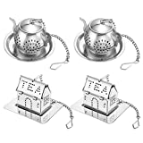 Accmor Tea Infuser - Stainless Steel Loose Leaf Tea Strainer with Chain and Drip Trays - Tea Filters for Rooibos, Green tea and Oolong Tea-2 PCS House and 2 PCS Teapot Set for Cup, Mug and Pitcher