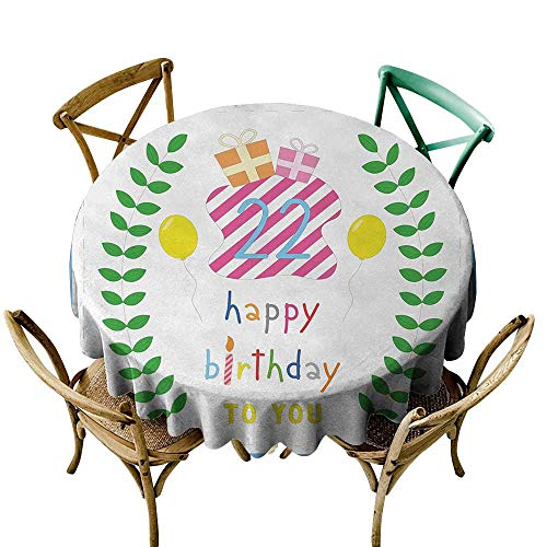 Wendell Joshua Picnic Tablecloth 36 inch 22nd Birthday,Anniversary Kids Girls Party with Leaves and Presents Balloon Party Design,Multicolor Indoor/Outdoor Spillproof Table Cloth
