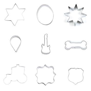 9 piezas cortador de galletas galletas escudos rectangulares flotador cuadrado hueso de perro guitarra gota octogonal huevo ovalado estrella de seis puntas: ...
