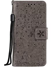 Miagon Embossing Case for Samsung Galaxy A40,Premium Leather Flip Wallet Cover with Butterfly Cat Flower Pattern Design,Gray