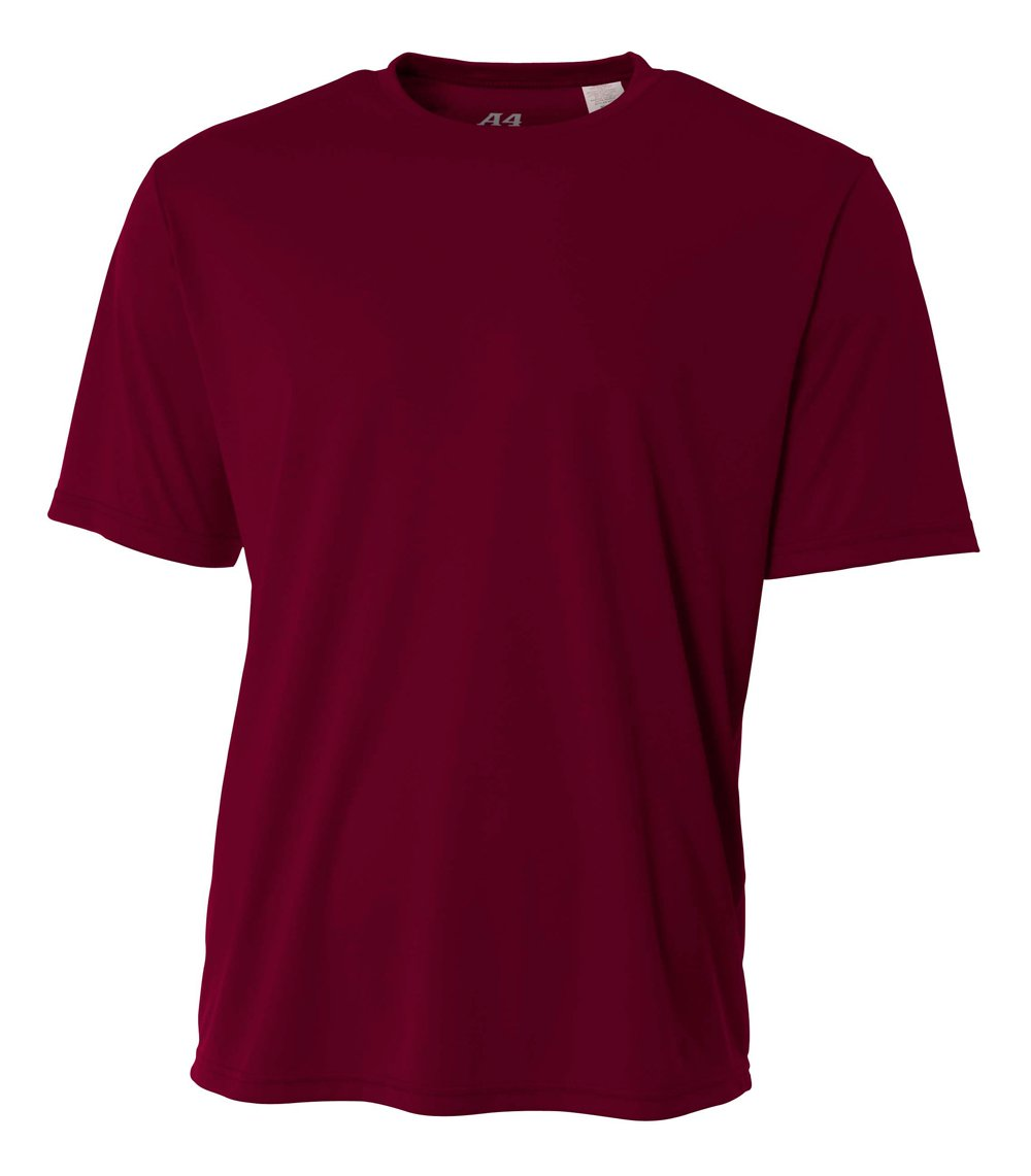 A4 Men's Cooling Performance Crew Short Sleeve, Maroon, 3X-Large by A4