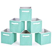 Collapsible Storage Bins, MaidMAX Set of 6 Foldable Fabric Storage Cubes Containers Organizers Basket with Dual Handles for Home, Office & Nursery, Aqua Chevron