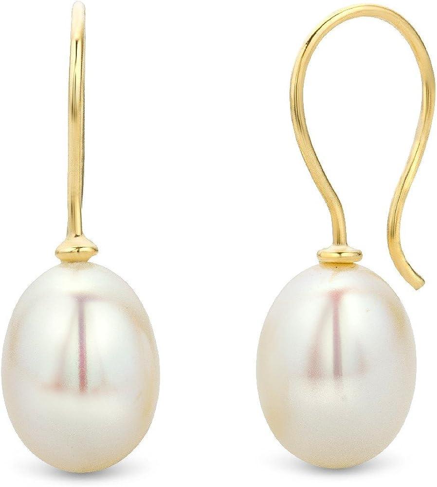 Miore Pendientes de Oro Amarillo de 9K con Perlas para Mujer