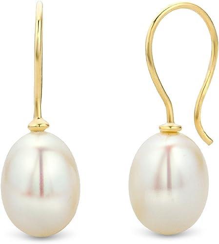 Pendientes de Oro Amarillo de 9K con Perlas para Mujer