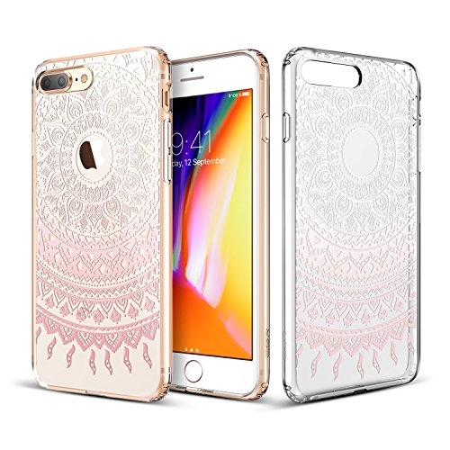 ESR iPhone 8 Plus Case, iPhone 7 Plus Case, Slim Fit Floral Totem Case [Anti Scratch PC Back with Soft Bumper][Supports Wireless Charging] Protective Case for iPhone 8 Plus(Pink Manjusaka)