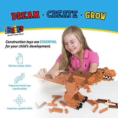 Strictly Briks Building Bricks Dinosaur Kit Tyrannosaurus Rex   556 Piece Set for Kids Age 6+   Blocks Compatible with Leading Toy Brands