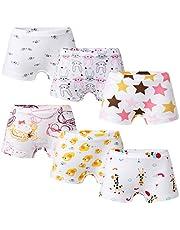 Growth Pal Girls' Panties Boyshort Briefs 6 Pack Soft 100% Cotton Underwear Toddler Undies