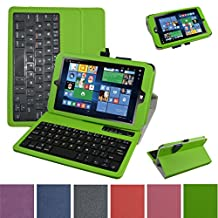 """Insignia NS-P08W7100 Bluetooth Keyboard Case,Mama Mouth Slim Stand PU Leather Case Cover With Romovable Bluetooth Keyboard For 8"""" Insignia Flex NS-P08W7100 Windows 10 Tablet 2016,Green"""