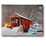BANBERRY DESIGNS Red Truck Canvas Print Christmas Canvas Print with LED and Fiber Optic Lights Winter Scene Wall Art