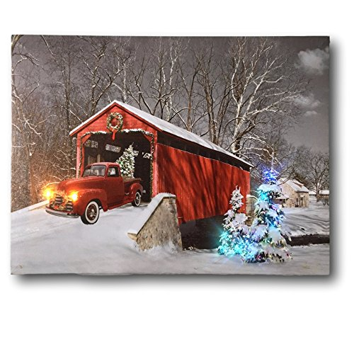 BANBERRY DESIGNS Red Truck Canvas Print - Christmas Canvas Print with LED and Fiber Optic Lights - Winter Scene Wall Art (Halloween Led Art Wall)