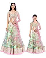 Market Magic World Women's & Girl's Banglori Silk Combo Of 2 Semi-Stitched Lehenga Choli (Lehngacombo021_Pista_Free Size)