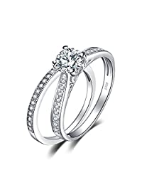 JewelryPalace 1.3ct Cubic Zirconia Anniversary Wedding Band Engagement Solitaire Ring Bridal Sets 925 Sterling Silver