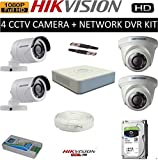 HIKVISION FULL HD 2MP CAMERAS COMBO KIT 4CH HD DVR+ 2 BULLET CAMERAS + 2 DOME CAMERAS+1TB HARD DISC+ WIRE ROLL +SUPPLY & ALL REQUIRED CONNECTORS