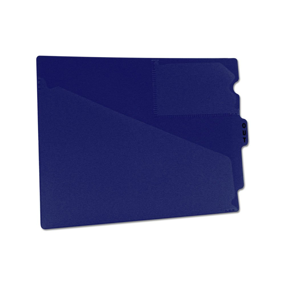PDC Healthcare FC178BE Outguide, Center Tab, Letter Size, 2 Pockets, Vinyl, 12 7/8'' x 9 1/2'', Blue (Pack of 25)