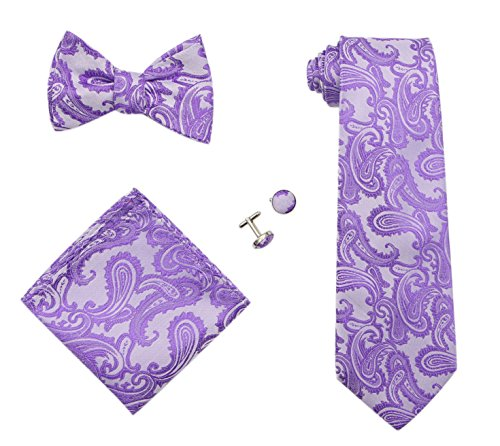 JAIFEI Gentleman's Gift Set – Paisley Woven Necktie, Pocket Square, Bowtie & Cufflinks (Purple)