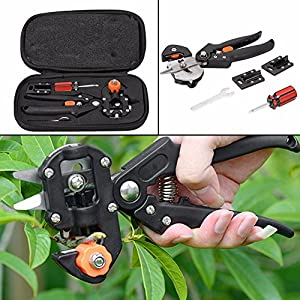 Starworld Professional Lightweight Reduce hand fatigue & Easily- Fastly Rootstock and scion Nursery Grafting Tool Knife Tree Pruner 2 Extra Sharp Blades,Screwdriver and Wrench W/ Carry Bag Black color