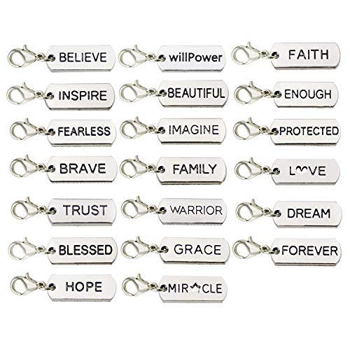 WOCRAFT 20pcs Craft Supplies Handmade Inspiration Words Dangle Charms Pendant with Lobster Clasp for Jewelry Making Accessory Fit Floating Locket Charms Necklaces M338 (Blessed Charm)