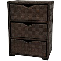 Oriental Furniture Natural Fiber Chest of Drawers - Three Drawer - Mocha